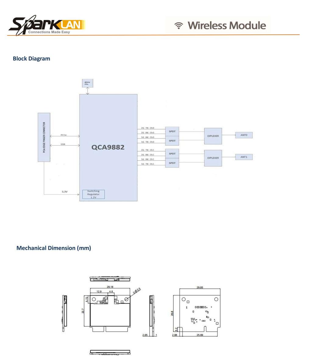 Details zu SparkLan WPEQ-257ACN Atheros QCA9882 Half Size minipci-express  802 11AC 867 mbps